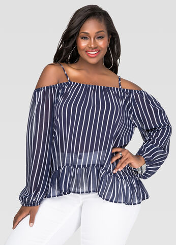 Striped Cold Shoulder Peasant Top