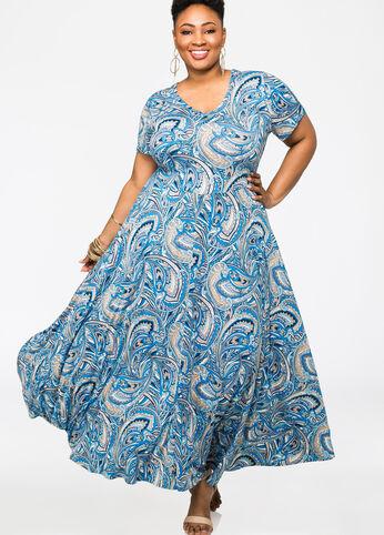 Paisley Print Cap Sleeve Maxi Dress