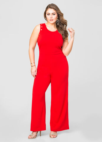 Grommet Trim Wide Leg Jumpsuit