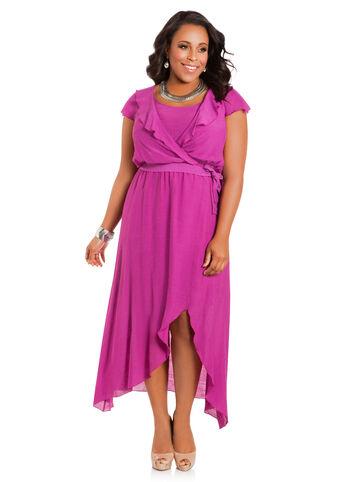 Belted Ruffle-Sleeve Dress
