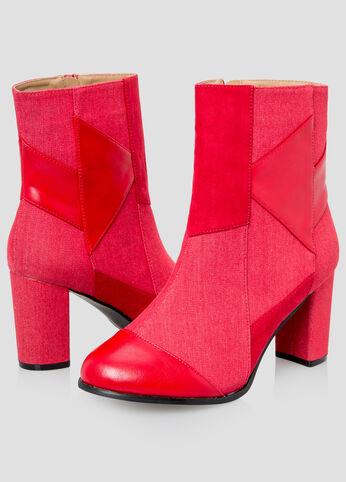 Denim Patchwork Bootie - Wide Width Red - Shoes