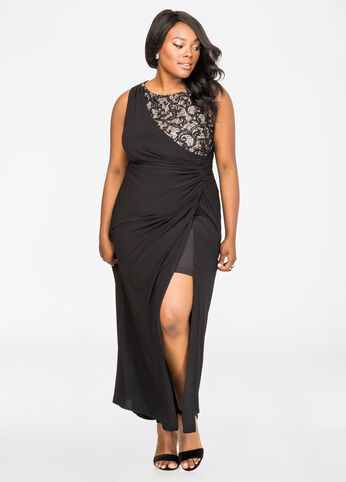 Sequin Lace Inset Special Occasion Gown