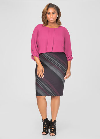 Bias Stripe Pencil Skirt