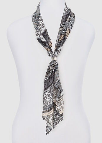 Pleated Boho Print Skinny Scarf at Ashley Stewart