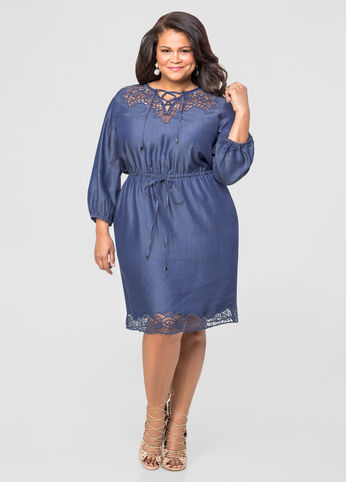 Denim Cut-Out Drawstring Dress