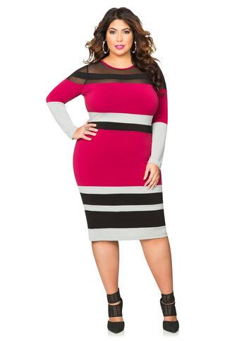 Tri-Color Mesh Colorblock Dress