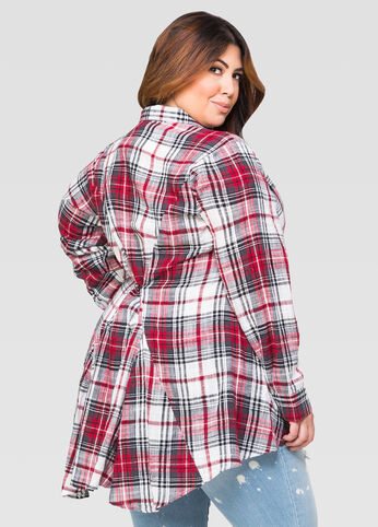 Gauze Plaid Fishtail Shirt