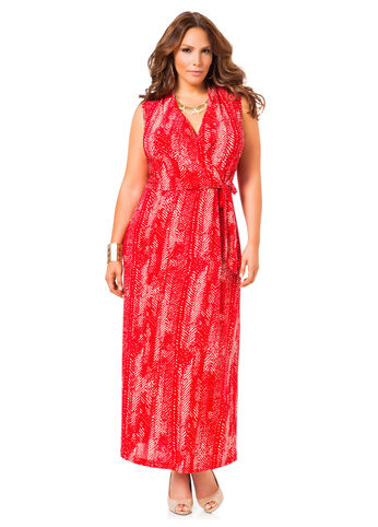 Shawl Collar Faux Wrap Maxi Dress