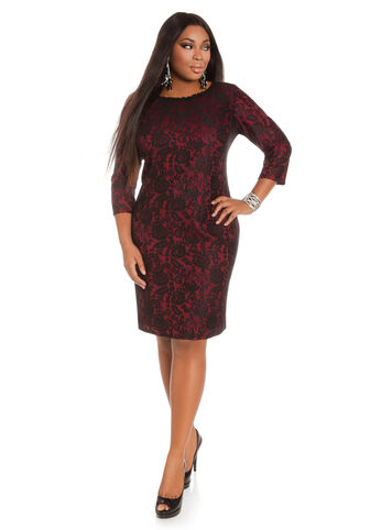 Boatneck Flocked Lace Dress