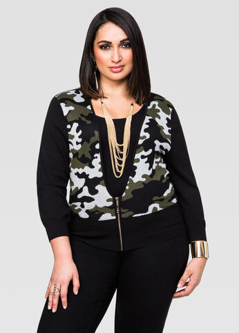 Camo Cropped Zip Front Cardigan