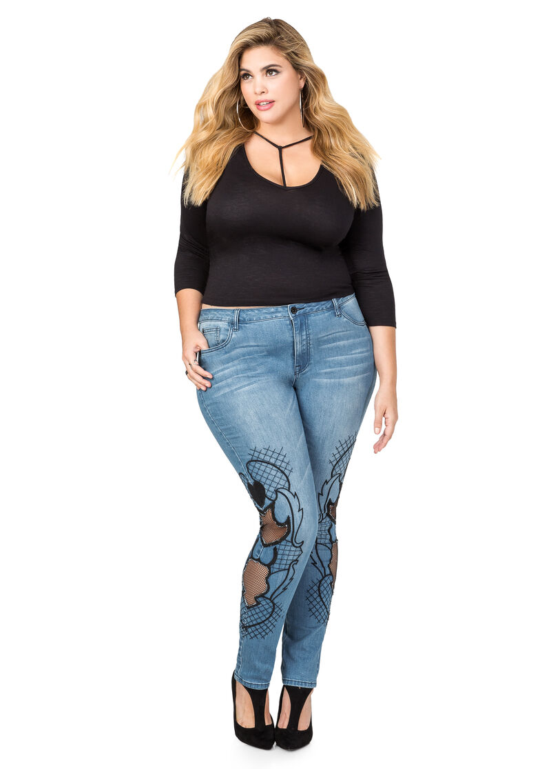 Plus Size Embroidered Mesh Skinny Jean 034PA43424SKX