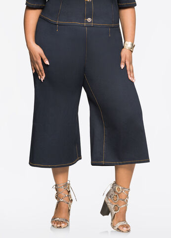 Dark Wash Cropped Jean Gaucho