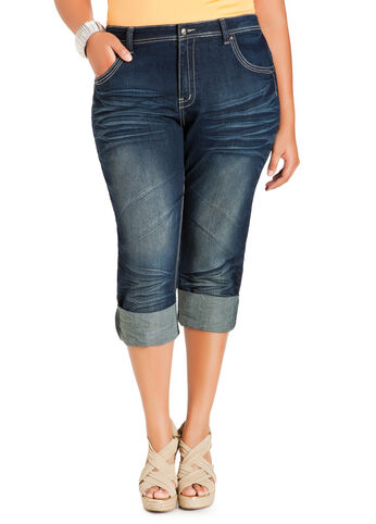 Crease Wash Cuffed Denim Capri Pants