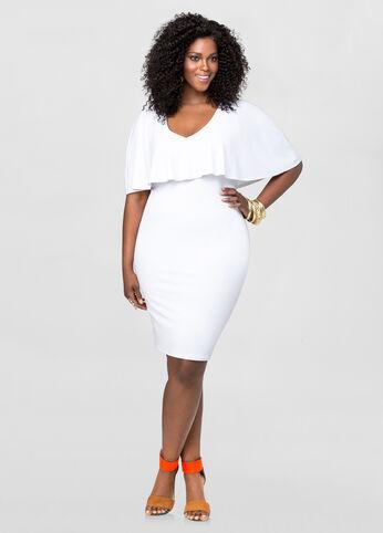 V-Neck Capelet Dress