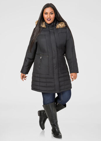 Faux Leather Trim Puffer Jacket