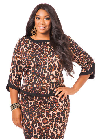 Animal Print Tulip Sleeve Top