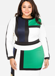 Colorblock Scuba Crop Top