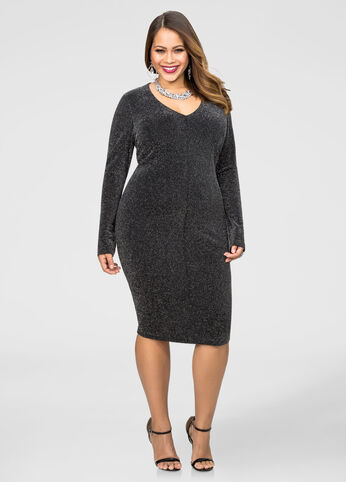 Long Sleeve V-Neck Glitter Dress