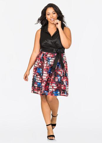 Shadow Stripe Taffeta Cocktail Dress