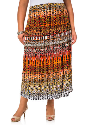 Tribal Print Fitted Top Shirred Skirt