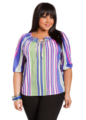 Multicolor Striped Peasant Blouse