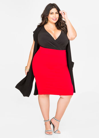 Solid Pull-On Pencil Skirt