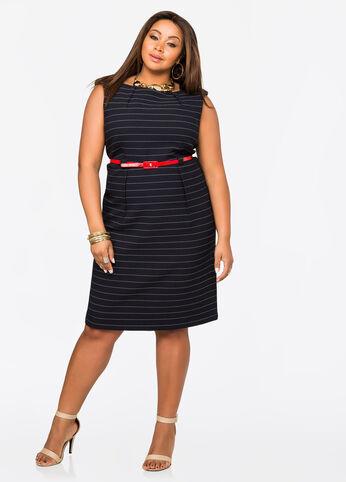 Belted Stripe Textured Shift Dress