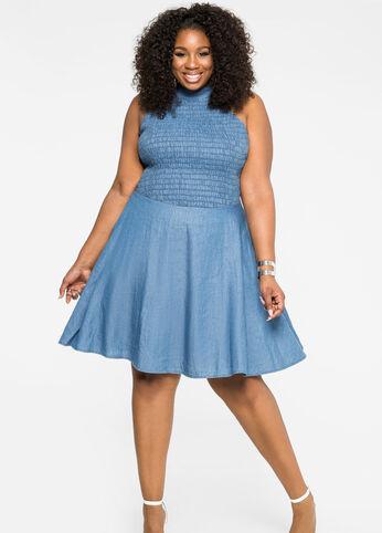 Lace-Up Back Jean Dress