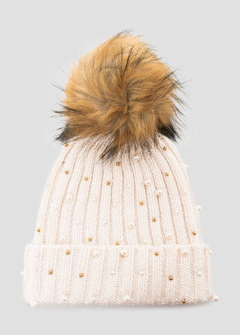 Fur Pom Metallic Bead Beanie Hat at Ashley Stewart