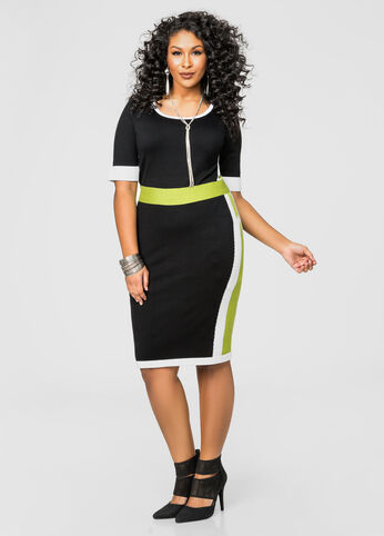 Bold Colorblock Jacquard Sweater Dress