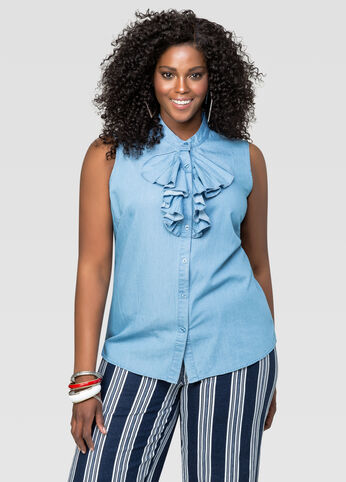 Button Front Ruffle Shirt