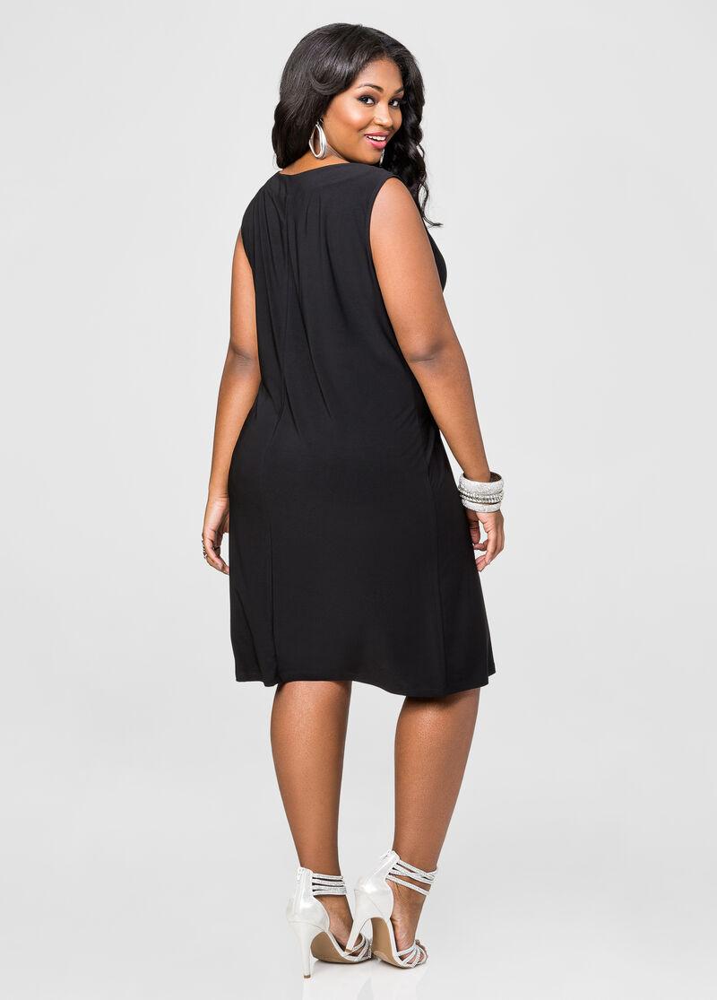 Sheer Panel Dress And Jacket Set-Plus Size Dresses-Ashley Stewart