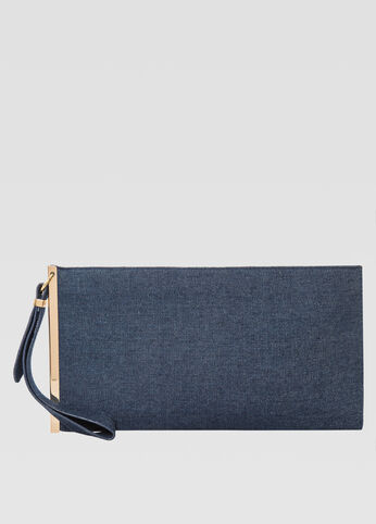 Denim Bar Wristlet Clutch