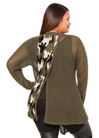 Split Back Camo Cardigan Sweater