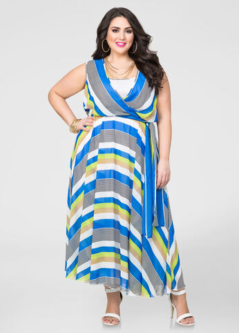 Striped Georgette Surplice Maxi Dress