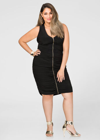Ruched Zip Front Dress 402009571657
