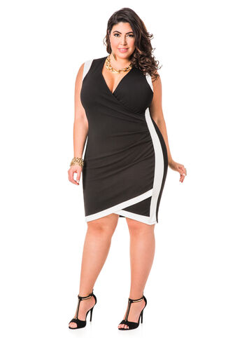 Solid Envelope Hem Faux Wrap Dress