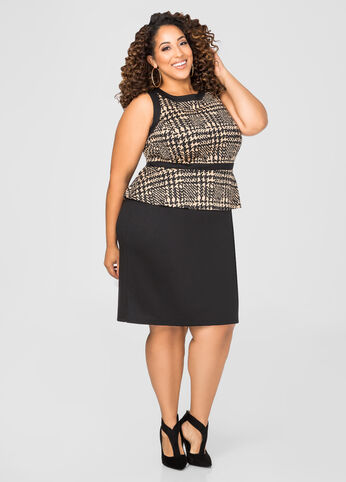 Abstract Houndstooth Peplum Dress