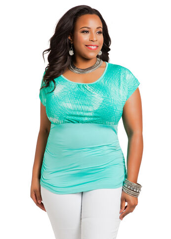 Shirred Waist Geo-Print Top