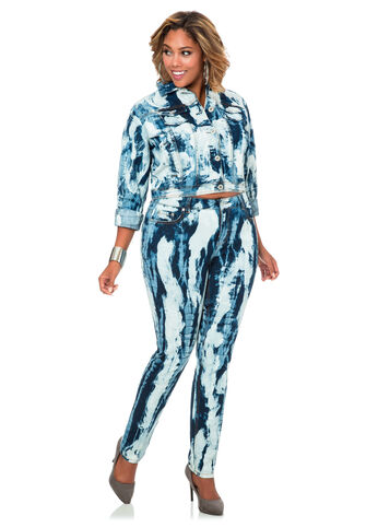 Marble Wash Skinny Jean