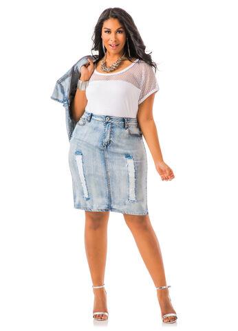 25-Inch Deconstructed Denim Skirt