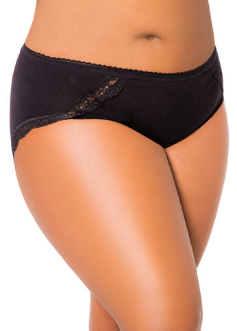 Lace Trim Cotton Bikini Panty