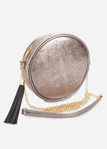 Embossed Circle Shoulder Bag at Ashley Stewart
