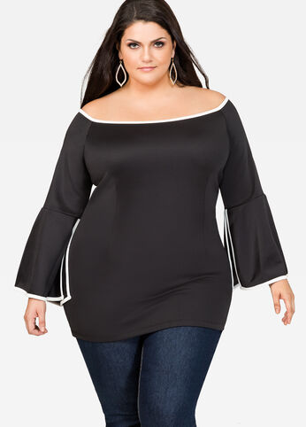 Off-Shoulder Bell Sleeve Tunic