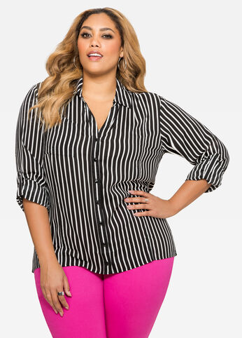 Striped Hi-Lo Button Front Shirt