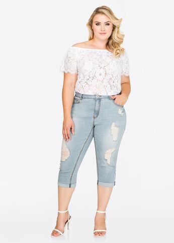Cuffed Destructed Capri Jeans
