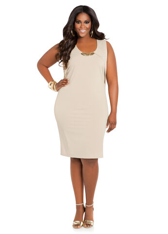 Sleeveless Necklace Sheath Dress
