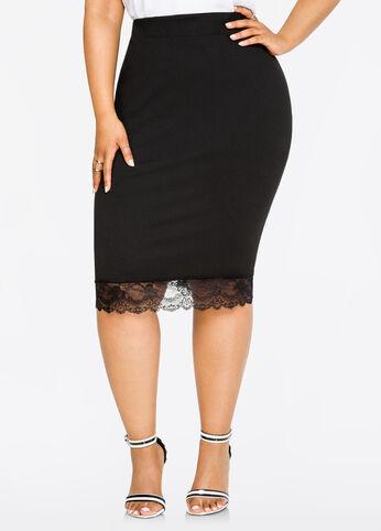 Lace Hem Techno Crepe Pencil Skirt