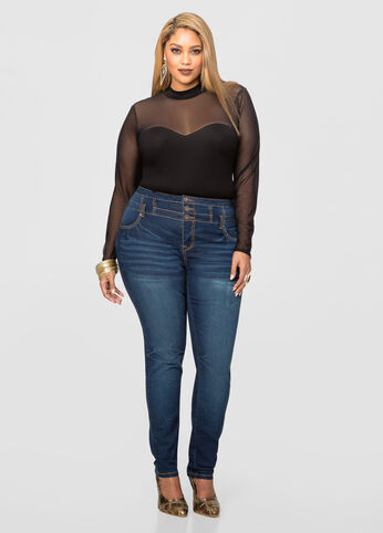 Three Button High Waist Skinny Jean