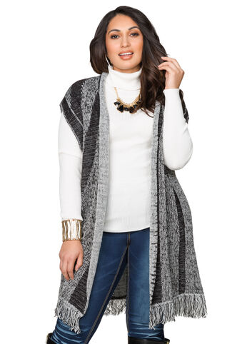 Split Back Fringe Sweater Vest